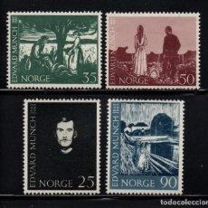 Sellos: NORUEGA 465/68** - AÑO 1963 - PINTURA - CENTENARIO DEL NACIMIENTO DEL PINTOR EDWARD MUNCH. Lote 148027682