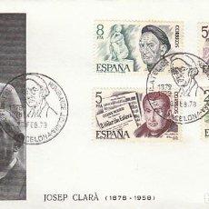 Sellos: EDIFIL 2456/9, PERSONAJES, MATASELLO HOMENAJE A J. CLARA DE 28-2-1978 . Lote 148184902