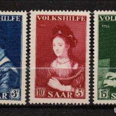Timbres: SARRE 358/60** - AÑO 1956 - PINTURA - OBRAS DE DA VINCI, REMBRANT Y FRANS FLORIS. Lote 152168238