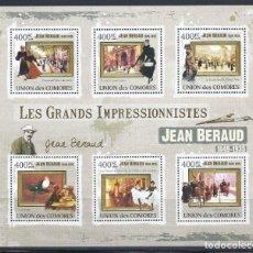 Sellos: COMORES 2009 IVERT 1844/49 *** ARTE - PINTURA - CUADROS DE JEAN BERAUD. Lote 155915758