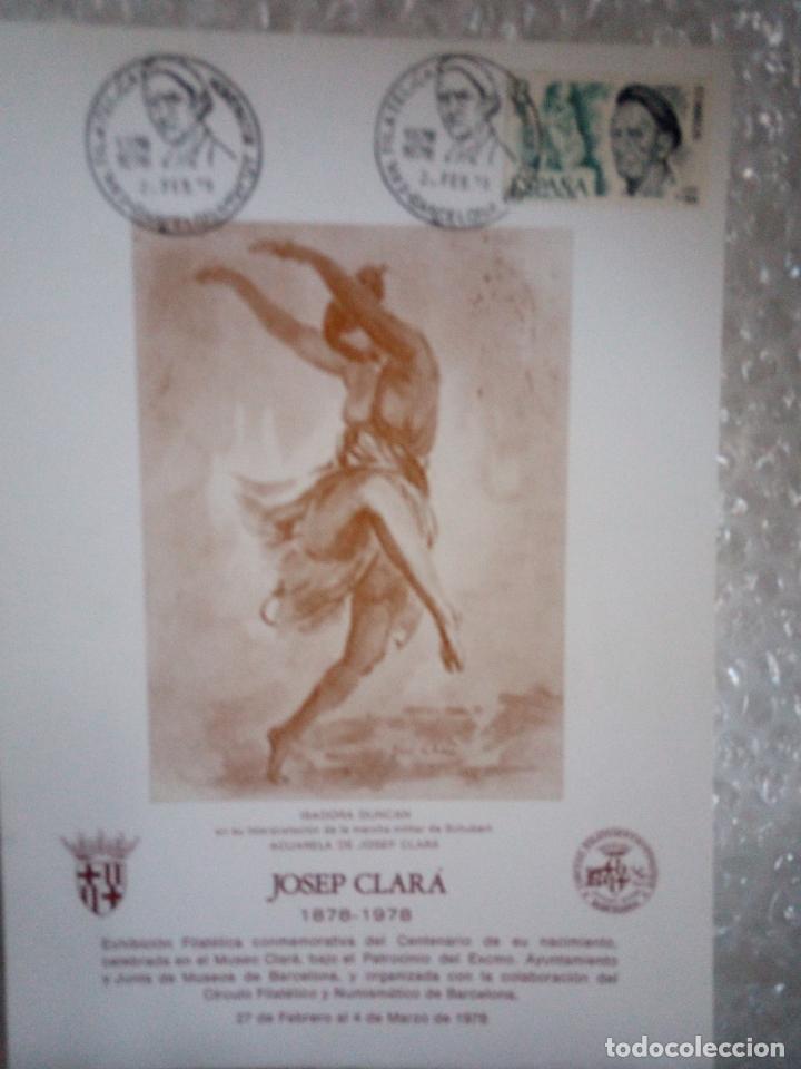 HOJA CON SELLO Y MATASELLOS HOMENAJE AL ESCULTOR J.CLARA EN SU CENTENARIO (Sellos - Temáticas - Arte)