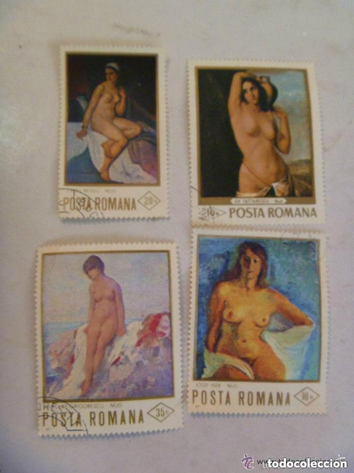 LOTE DE 4 SELLOS DE RUMANIA ( EPOCA COMUNISTA) : ARTE , PINTURA DE DESNUDOS FEMENINOS. (Sellos - Temáticas - Arte)