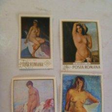 Sellos: LOTE DE 4 SELLOS DE RUMANIA ( EPOCA COMUNISTA) : ARTE , PINTURA DE DESNUDOS FEMENINOS.. Lote 157784610