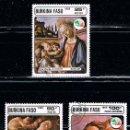 Sellos: BURKINA FASO IVERT 685/7, CUADROS DE BOTTICELLI, USADO (SERIE COMPLETA). Lote 160418366