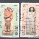 Sellos: EGIPTO AÉREOS Nº 195/196º ESCULTURAS DEL ANTIGUO EGIPTO. SERIE COMPLETA. Lote 160553570