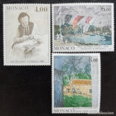 Sellos: 1989. ARTE. MÓNACO. OBRAS DE PINTORES P. FLORENCE, A. SISLEY, P. CÉZANNE. NUEVO.. Lote 162382802