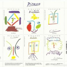 Sellos: PICASSO. EDITIONS CARTES D'ART. SUCCESSION PICASSO. 1997. PARIS. 6 SELLOS EN HOJA. . 13X15 CM.. Lote 164915218