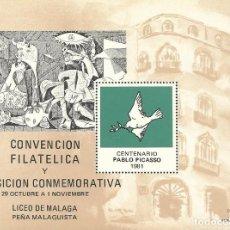 Sellos: CENTENARIO PABLO PICASSO. 1981. CONVENCIÓN FILATÉLICA. LICEO DE MÁLAGA. CASA NATAL DE PICASSO.. Lote 164917354
