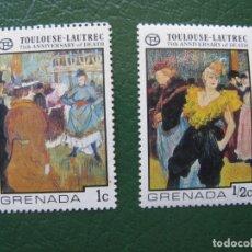 Timbres: GRENADA, 2 SELLOS OBRAS DE TOULOUSE LAUTREC. Lote 166602750
