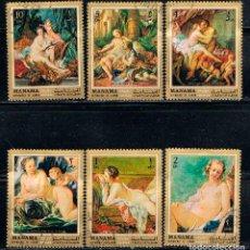Sellos: MANAMA (BAREIN), LOTE DE 6 SELLOS DE CUADROS DE DIVERSOS PINTORES, USADOS. Lote 167719124
