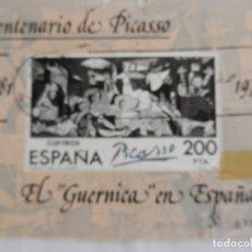 Sellos: SELLO EL GUERNICA EN ESPAÑA - CENTENARIO DE PICASSO 1881-1973. CIRCULADO. . Lote 169916964