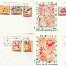 Sellos: EDIFIL Nº 1779/88, PREHISTORIA, PINTURA RUPESTRE, PRIMER DIA 27-3-1967.4 SOBRES DE ALFIL. Lote 170189248