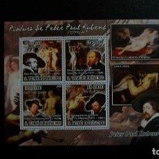 Sellos: PINTURA-DESNUDOS-PETER PAUL RUBENS-S,TOME&PRINCIPE-2008-MINIPLIEGO**(MNH). Lote 172026875