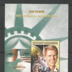 Sellos: SELLOS MADAGASCAR AÑO 1999. HISTORIA DEL CINE AMERICANO. -HARRISON FORD - HOJA BLOQUE NUEVA. Lote 172579962