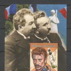 Sellos: SELLOS MADAGASCAR AÑO 1999. HISTORIA DEL CINE FRANCÉS. -JOHNNY HALLYDAY- HOJA BLOQUE NUEVA. Lote 172586095