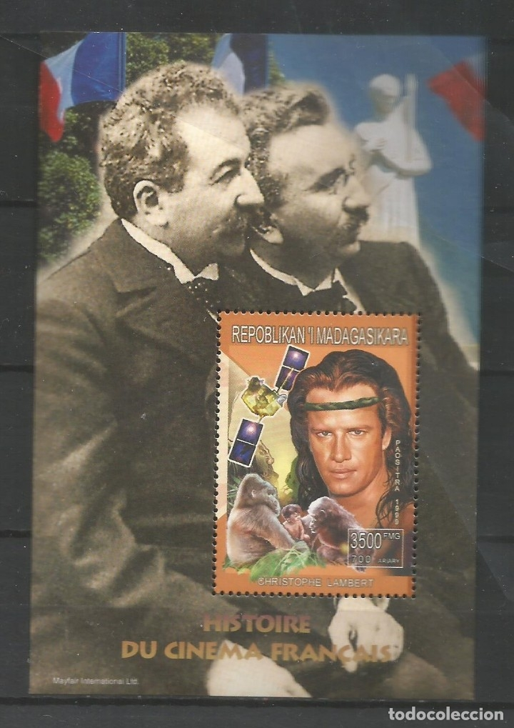 SELLOS MADAGASCAR AÑO 1999. HISTORIA DEL CINE FRANCÉS. -CHRISTOPHE LAMBERT- HOJA BLOQUE NUEVA (Sellos - Temáticas - Arte)