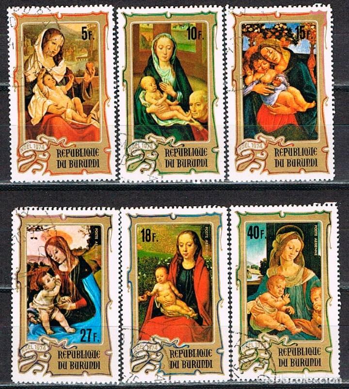 BURUNDI 1131/6, CUADROS DE DIVERSOS PINTORES (NAVIDAD), USADO (Sellos - Temáticas - Arte)