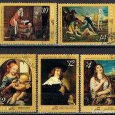 Timbres: RUSIA (URSS), 3689/92, CUADROS DE DA VINCI, TIZIANO, CHARDIN, HALLS Y PUSSIN, USADO. Lote 174167809