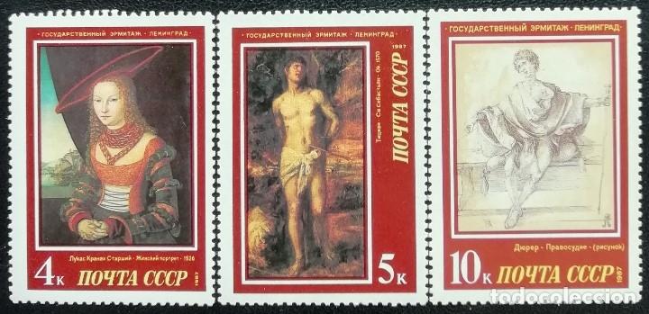 1987. ARTE. URSS. 5409, 5410, 5411. OBRAS PICTÓRICAS MUSEO L' ERMITAGE, DE LENINGRADO. NUEVO. (Sellos - Temáticas - Arte)