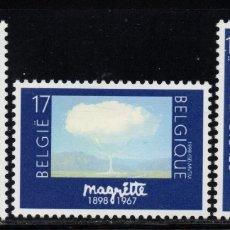 Sellos: BELGICA 2745/47** - AÑO 1998 - PINTURA - CENTENARIO DEL NACIMIENTO DEL PINTOR RENE MAGRITTE. Lote 177897573