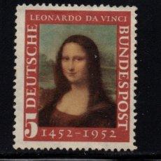 Sellos: ALEMANIA 34** - AÑO 1952 - PINTURA - 5º CENTENARIO DEL NACIMIENTO DE LEONARDO DA VINCI. Lote 178791372