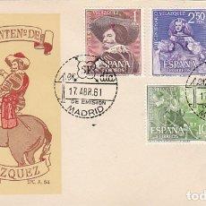 Sellos: EDIFIL 1340/3, 3º CENTENARIO DE VELAZQUEZ, PRIMER DIA 17-4-1961 SOBRE DEL SFC. Lote 179174335