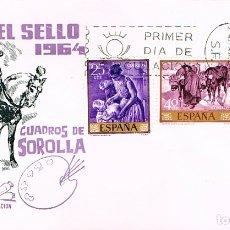 Sellos: EDIFIL 1566/8, SOROLLA,: PRIMER DIA DE 24-3-1964, SERIE CORTA EN SOBRE DE ALONSO CIRCULADO. Lote 179517826