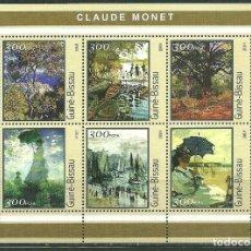 Sellos: GUINEA BISSAU 2001 IVERT 1002/7 *** ARTE - CUADROS DE MONNET - PINTURA. Lote 180954926