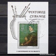 Sellos: CUBA 1978 ~ PINTORES CUBANOS: AMELIA PELAEZ Y DEL CASAL ~ HOJITA USADA CTO LUJO. Lote 182023392