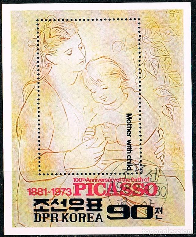 COREA DEL NORTE Nº 2279, CENTENARIO DE PICASSO: MADRE E HIJO, USADO EN HOJA BLOQUE (Sellos - Temáticas - Arte)