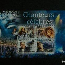 Sellos: /02.04/-BURUNDI-2011-MINIPLIEGO Y&T 1297/300 **(MNH)-MUSICA-CANTANTES. Lote 189237613