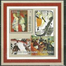 Timbres: GUINEA BISSAU 2001 HB *** ARTE - PINTURA - TOULOUSE LAUTREC. Lote 192461150