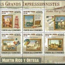 Sellos: COMORES 2009 IVERT 1816/20 *** ARTE - PINTURA - CUADROS DE MARTIN RICO Y ORTEGA. Lote 195414658
