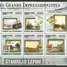 Sellos: COMORES 2009 IVERT 1821/25 *** ARTE - PINTURA - CUADROS DE STANISLAS LEPINE. Lote 195414753