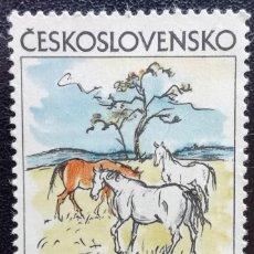 Sellos: 1972. CHECOSLOVAQUIA. 1904. 'CABALLOS PASTANDO', CUADRO DE V. SEDLACEK. USADO.. Lote 198100870