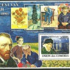 Sellos: COMORES 2009 HB IVERT 151 *** ARTE - PINTURAS DE VINCENT VAN GOGH. Lote 200547126