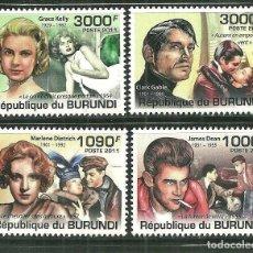 Timbres: BURUNDI 2011 SCOT 951/54 *** CINE - PERSONAJES DEL CINE. Lote 200551365