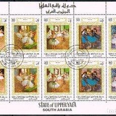 Sellos: UPPER YAFFÁ (ARABIA DEL SUR), CUADROS DE DEGAS, USADOS EN MINIPLIEGO. Lote 201218247
