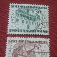 Sellos: SELLOS R. CHECOSLOVAQUIA MTDOS/1958/CASTILLO/CAPILLA/BELEN/ANIV./MUSICA/COMPOSITOR/ARTE/ARQUITECTURA. Lote 204101108