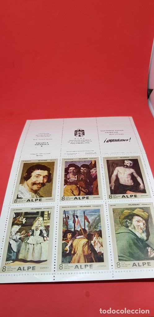 LÁMINA 6 SELLOS 8 PTAS ALPE 1972 VELÁZQUEZ SIN USAR (Sellos - Temáticas - Arte)