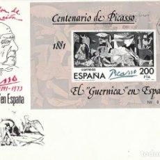 Sellos: EDIFIL Nº 2631, CENTENARIO DE PICASSO, EL GUERNICA, PRIMER DIA DE 25-10-1981, SFC. Lote 206894187