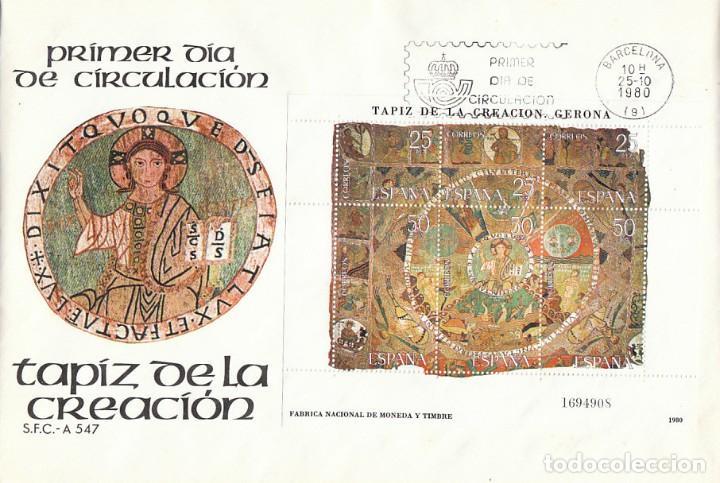 EDIFIL 2591, TAPIZ DE LA CREACION, CATEDRAL DE GIRONA, PRIMER DIA DE 25-10-1980 SFC (Sellos - Temáticas - Arte)