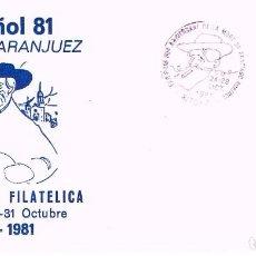 Sellos: AÑO 1981, ARANJUEZ, 50 ANIVERSARIO DE SANTIAGO RUSIÑOL, SOBRE DE LA EXPOSICION. Lote 206895287