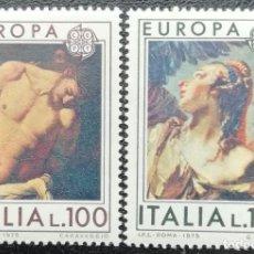 Sellos: 1975. ITALIA. 1222 / 1223. TEMA EUROPA. CUADROS DE CARAVAGLIO Y TIEPOLO. SERIE COMPLETA. NUEVO.. Lote 208075612