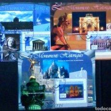 Sellos: MONUMENTOS HISTÓRICOS DE PARIS 3 HOJAS BLOQUE DE SELLOS USADOS DE GUINEA IVERT 2007. Lote 209667345