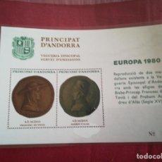 Sellos: HOJA DE BLOQUE PRINCIPAT D ANDORA 1980 NUEVO CON GOMA. Lote 210782689