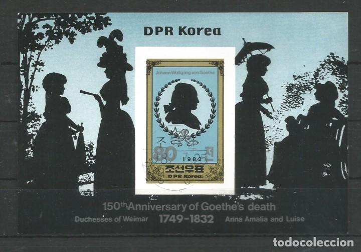 COREA DEL NORTE AÑO 1982. 150 ANIVERSARIO DE LA MUERTE DE JOHANN WOLFGANG GOETHE. POETA (Sellos - Temáticas - Arte)