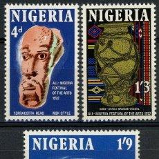 Sellos: NIGERIA 1972 IVERT 274/6 ** FESTIVAL DE LAS ARTES - ARTESANÍA LOCAL. Lote 211668643