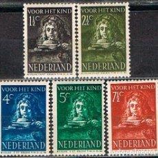 Sellos: HOLANDA IVERT Nº 387/91 (AÑO 1941), REMBRANDT: RETRATO DE SU HIJO TITUS, NUEVO CON SEÑAL, SERIE COMP. Lote 213342533