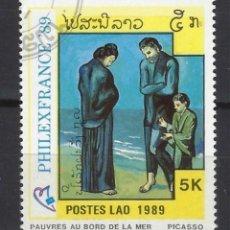"Francobolli: PICASSO / LAOS 1989 - EXPO. FILATELICA INTERN. PHILEXFRANCE, ""POBRES EN LA ORILLA DEL MAR"" - USADO. Lote 213851386"